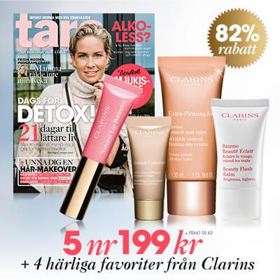 Tara + 4 härliga produkter från Clarins prenumerationspremie
