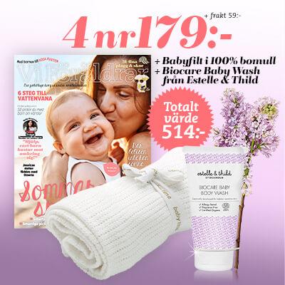 Vi Föräldrar + Babyfilt i 100% bomull + Biocare Baby Wash från Estelle & Thild premie