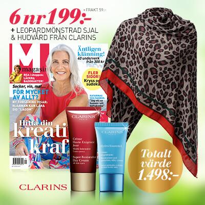 M-magasin + leopardmönstrad sjal samt hudvård från Clarins prenumerationspremie