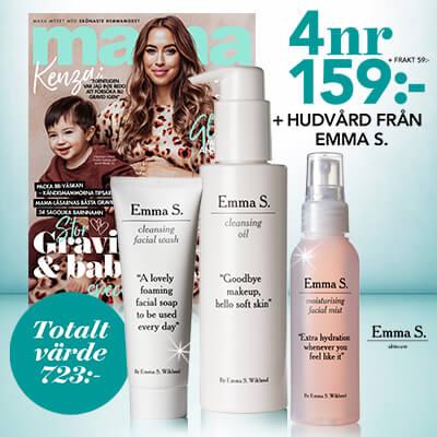 tidningen mama + hudvård från Emma S som premieerbjudande