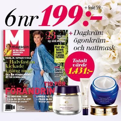 M-magasin + dagkräm, ögonkräm och nattmask som premie