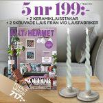 Allt i Hemmet + 2 ljusstakar i keramik + 2 skruvade ljus från Vio Ljusfabriker