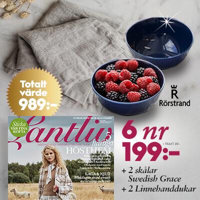 Lantliv + 2 st skålar Swedish Grace samt 2 linnehanddukar